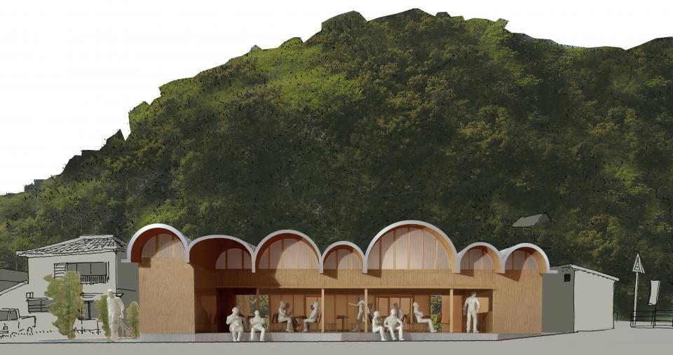連続するアーチ屋根のレストラン 交流施設Oの写真0