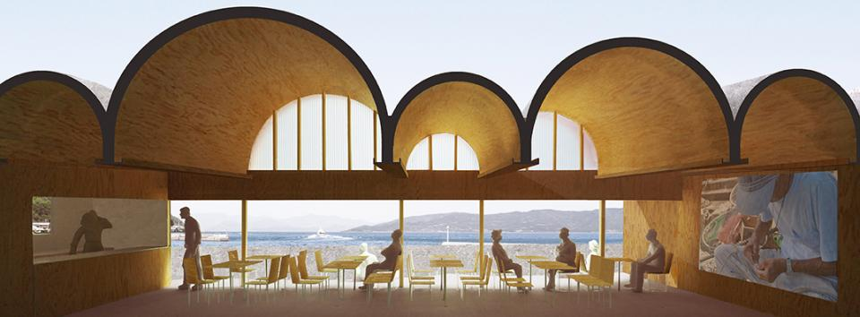 連続するアーチ屋根のレストラン 交流施設Oの写真1