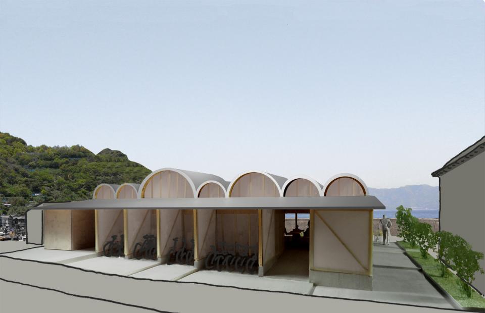 連続するアーチ屋根のレストラン 交流施設Oの写真2